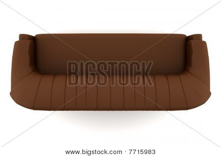 top view of brown leather sofa isolated on white background with clipping path