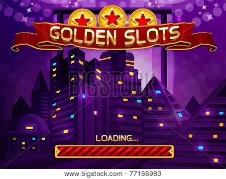 Loading screen for slots game. Vector illustration