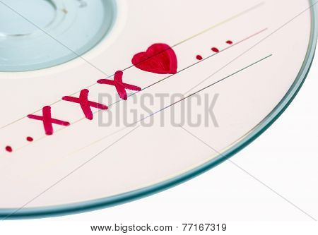 Cd Or Dvd X-rate On White Background