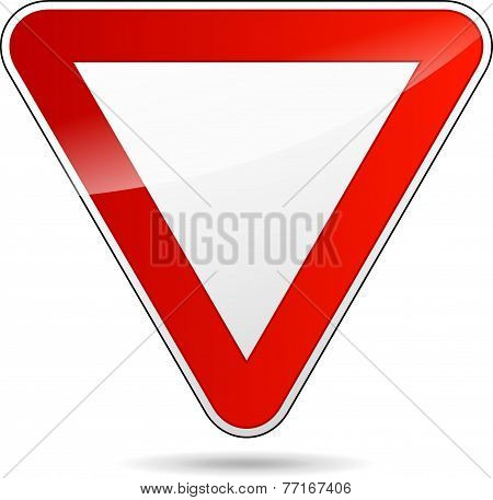Yield Triangular Road Sign