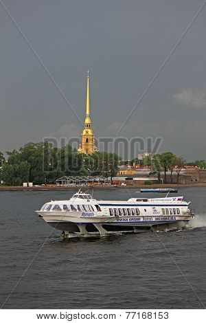 Hydrofoil Meteor On The Neva In St. Petersburg, Russia