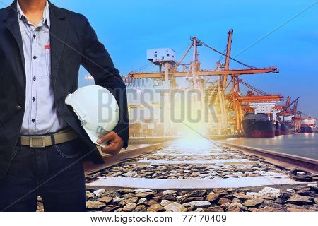 Working Man In Port Shipping Transport And Train Land Logistic Use For Transportation Industry Backg