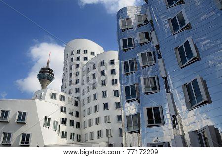 DUSSELDORF, GERMANY - SEPTEMBER 14 2014: Germany Dusseldorf Media Harbor Medienhafen With Tower