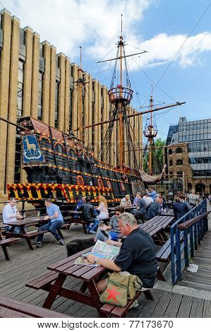 Replica of Golden Hind (Francis Drake famous galleon)