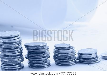 five coin piles