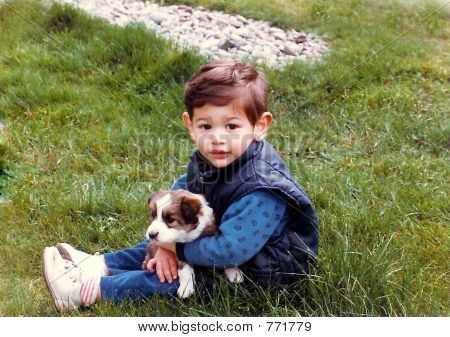 Boy And His First Puppy