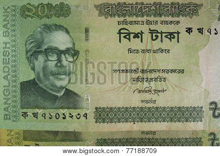 Twenty Bangladeshi taka bills, Bangladesh. Bangladeshi banknotes are among the most dirty, contaminated ones in the world. poster