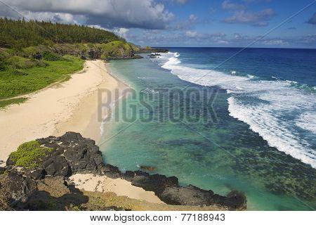 View to the Gris-Gris sandy beach, Mauritius island.
