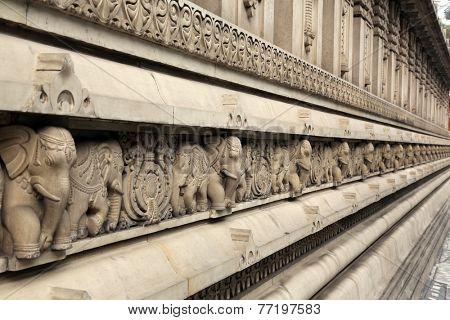 KOLKATA, INDIA - FEB 15: Stone carvings in Hindu temple Birla Mandir (Hindu Temple) in Kolkata, West Bengal in India on Feb 15, 2014. It is one of the largest Hindu temples in Kolkata.