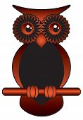 brown and black funny wise owl with big bright eyes poster