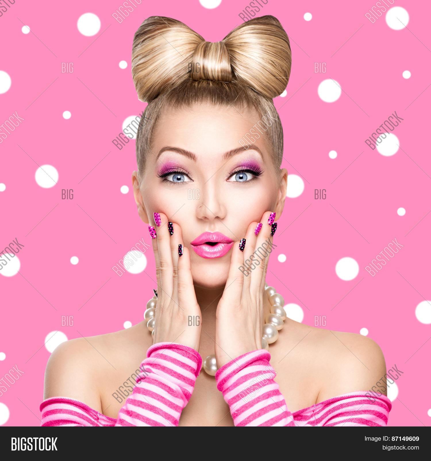 Beauty Surprised Fashion Model Girl Image & Photo