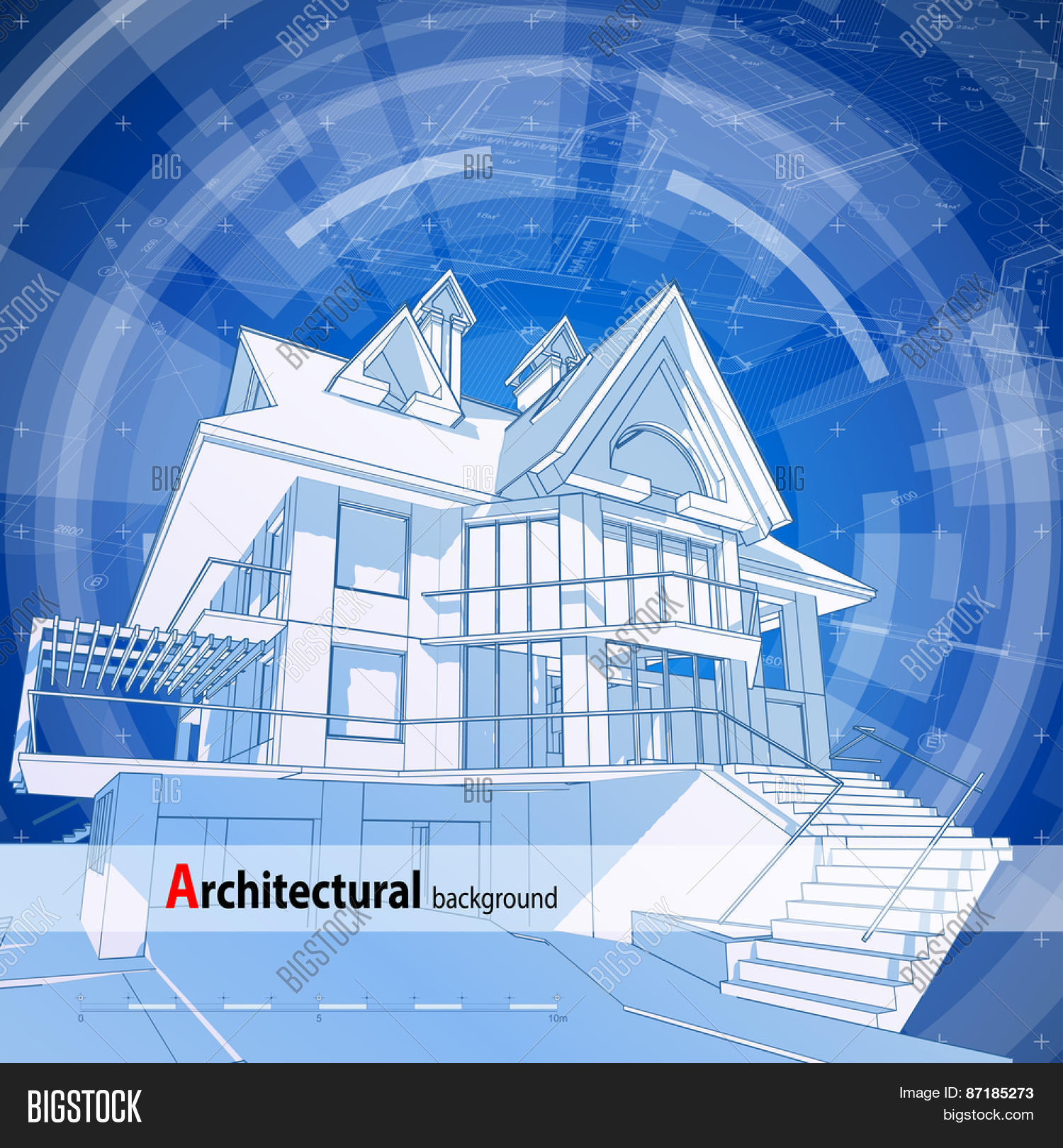 Architecture Design: Blueprint 3d House, Plan U0026 Blue Technology Radial  Background   Vector Illustration