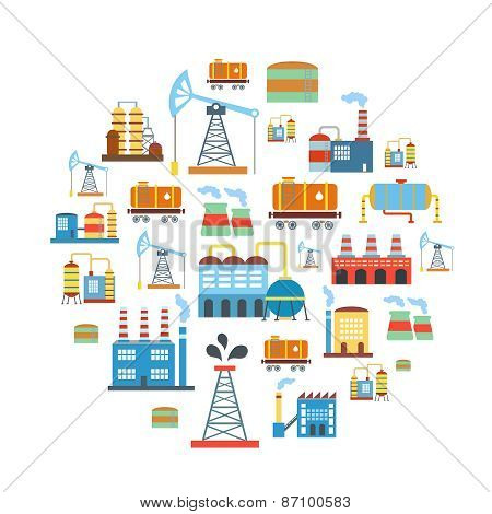 Factory flat industry background with manufactory production technology buildings vector