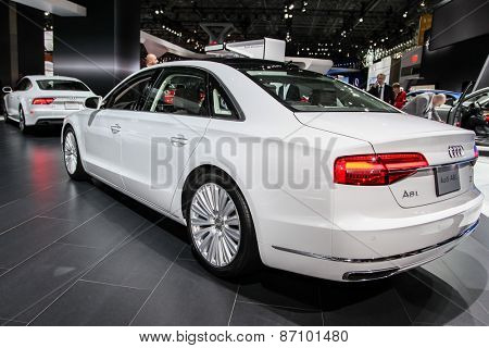 NEW YORK - APRIL 1: Audi exhibit Audi A8L at the 2015 New York International Auto Show during Press day,  public show is running from April 3-12, 2015 in New York, NY.