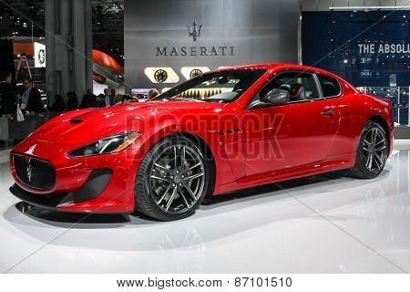 NEW YORK - APRIL 1: Maserati exhibit GranTurismo  MC Centennial Edition at the 2015 New York International Auto Show during Press day,  public show is running from April 3-12, 2015 in New York, NY.