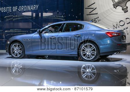 NEW YORK - APRIL 1: Maserati exhibit Maserati Ghibli S Q4 at the 2015 New York International Auto Show during Press day,  public show is running from April 3-12, 2015 in New York, NY.