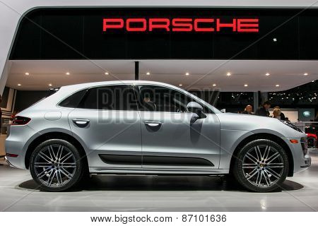 NEW YORK - APRIL 1: Porsche exhibit  Porsche Macan Turbo at the 2015 New York International Auto Show during Press day,  public show is running from April 3-12, 2015 in New York, NY.