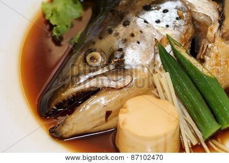 Japanese Food Salmon Kabutoni