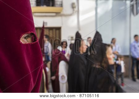Detail Of Eye Of Penitence During A Holy Week Procession, Spain