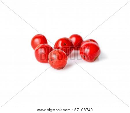 Pink Pepper Is Isolated On White Background, Closeup