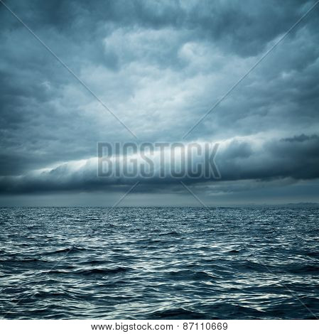 Stormy Sea. Wild Nature Dark Background.