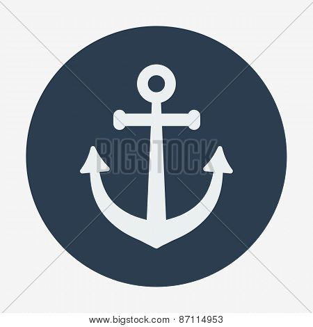 Pirate or sea icon, anchor. Flat design vector illustration.
