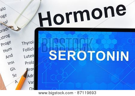 Papers with hormones list and tablet  with word serotonin.