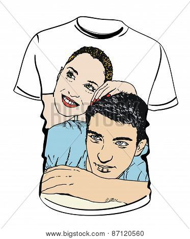 shirt with couple  illustrations on white background