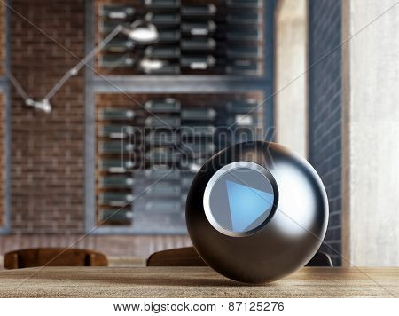 Magic 8 Ball on table. 3d rendering