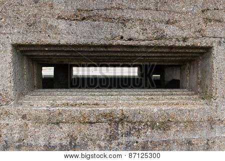 Embrasure Of Vickers Machine Gun Post, World War Two.