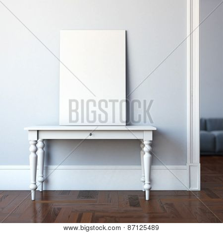 Interior with classic table and blank canvas. 3d rendering poster