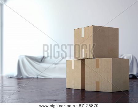 Cardboard moving boxes in interior. 3d rendering