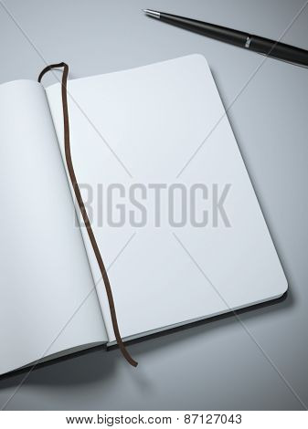 Notebook with clear pages and pen