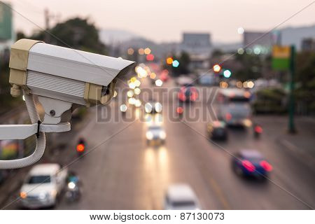 Security Cctv Camera Operating Over The Road