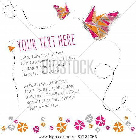 Two butterflies flying around text