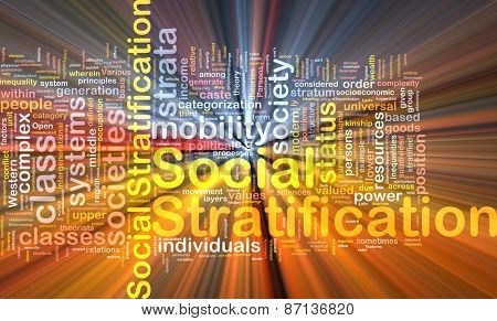 Background text pattern concept wordcloud illustration of social stratification glowing light