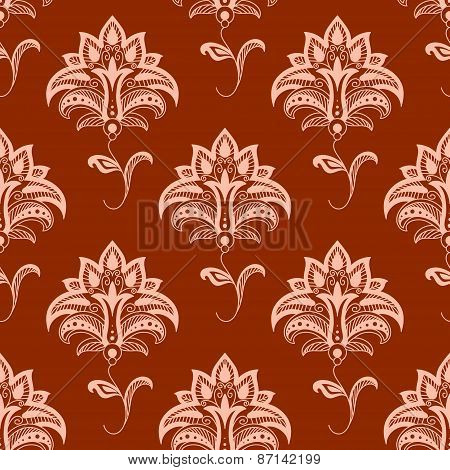 Oriental floral seamless pattern on titian background