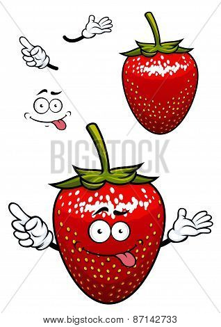 Playful smiling red strawberry fruit cartoon character