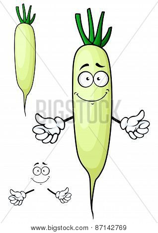 White radish or daikon vegetable cartoon character