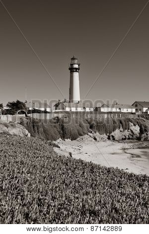 Pigeon Point lighthouse in Big Sur California in black and white.