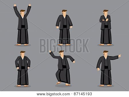 Japanese Man In Yukata Vector Illustration
