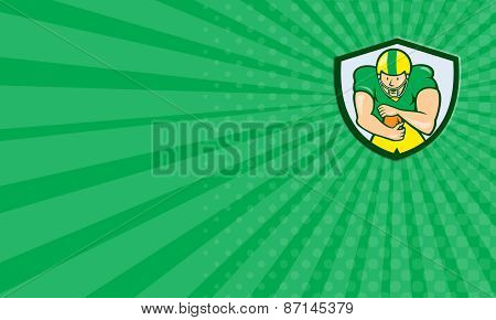 Business Card American Football Running Back Shield Cartoon