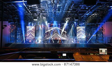 Concert stage with lights and musical instruments