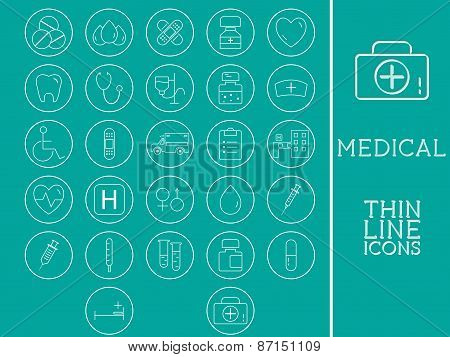 Outlined Medical and Healtcare Icons Set Collection. Trendy thin line design. On blue background