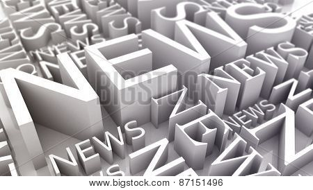 Many Inscriptions News On A White Background