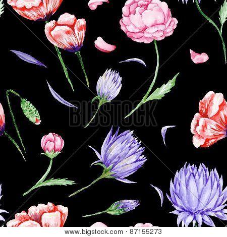 Black Romas Floral Pattern