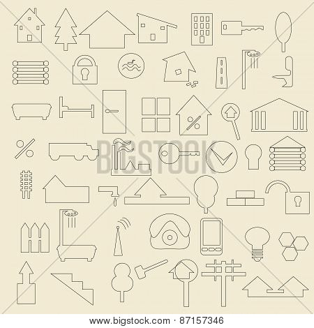 Real estate items line icon set.