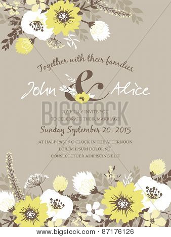 Save the date. Wedding invitation card with beautiful flowers.