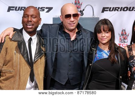LOS ANGELES - APR 1:  ??Tyrese Gibson, Vin Diesel, Michelle Rodriguez at the Vin Diesel Hand and Foot Print Ceremony at the TCL Chinese Theater on April 1, 2015 in Los Angeles, CA
