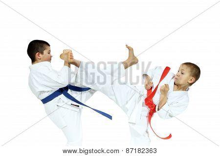Sportsmen are hitting blows mae geri and yoko-geri